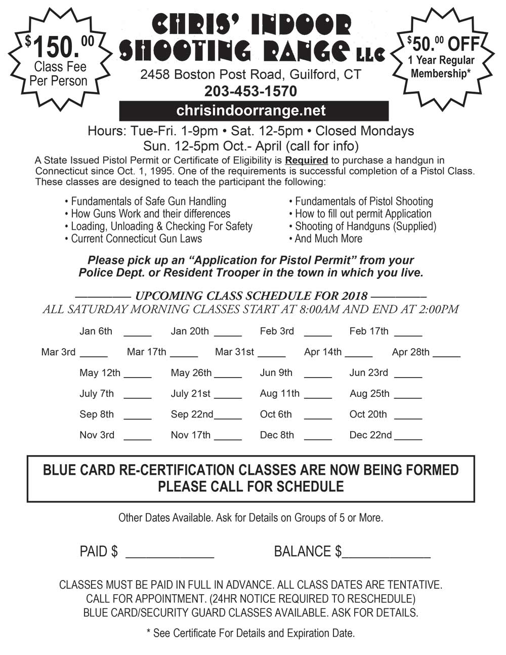 Pistol Permit Classes in guilford ct